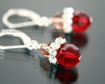 Red Crystal Earrings, Swarovski Crystal Earrings, Red Swarovski Crystal Earrings, Red Dangling Earrings, Valentine Gift, Mother's Day