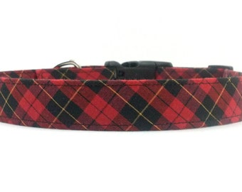 Red and Black Plaid Checker Dog Collar