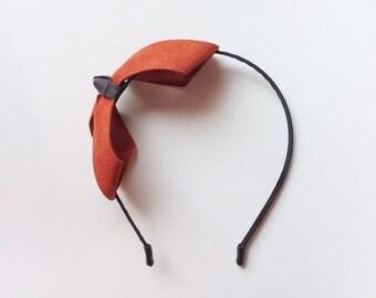Frankie Headband - Party headband - Wedding headband - Suede headband - Terracotta bow - Big bow - Blair Waldorf - Womens headband