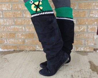 Blackhawks Boot Cuffs! Green Chicago Blackhawks Hockey Boot Cuffs! Perfect boot toppers to accessorize for your NHL team!