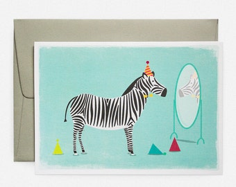 Zebra Party Hats Greeting Card