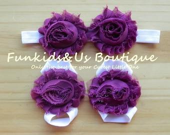 Plum white baby barefoot shabby chic flower sandals- Newborn,toddler, girl Barefoot flower sandals