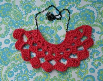 Crochet Pattern Bib Necklace in Coral - 50% OFF SALE!