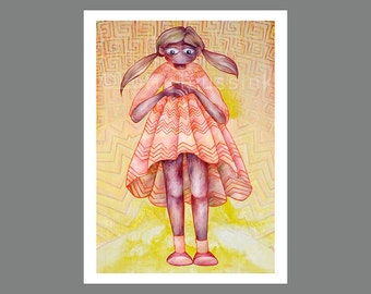 Whimsical art print, quirky oil painting of big eyed girl, prints illustrations, baby girl nursery wall art, pop surrealism lowbrow gothic