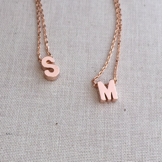 personalized block letter initial necklace rose gold monogram jewelry floating letter necklace personalized