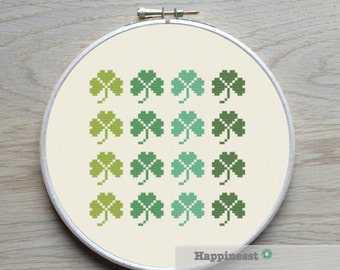 modern cross stitch pattern shamrock, PDF  ** instant download**