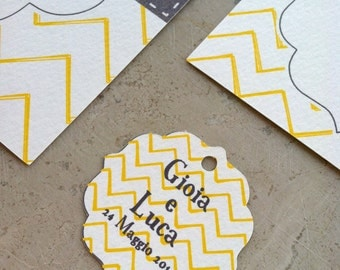 50 Tags for wedding favors-CHEVRON trim