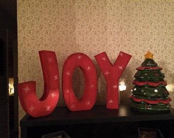 Joy Christmas Wood Blocks, Christmas Decor, Mantle Decor