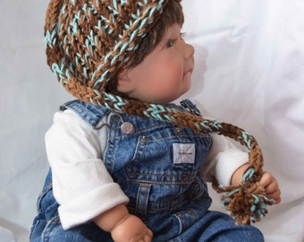 Newborn Hat, Knitted Hat,  Rolled Edge Hat w tail