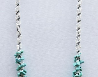 Necklace with real gems of turquoise