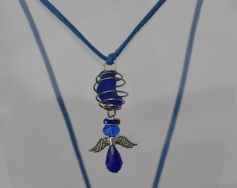 FREE SHIPPING!!!!! Cobalt Spanish Seaglass melt with Happiness Angel