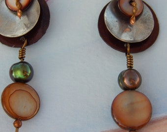 Unique Layered Shell Earrings w/Dyed Pearls, Hammered Twisted Copper,Bronze, Sterling Silver Domed Discs: Nature's Tribal Goddess Adornment
