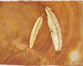 14K Gold Feather gold plated pendant jewelry making feather pendant art supplies XL size L size MaKarma