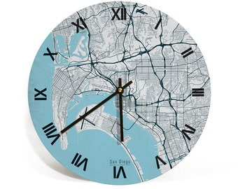"San Diego Map Art Wall Clock - Large Unique Contemporary Art Wall clock - 11"" and 16""  Diameter-California"