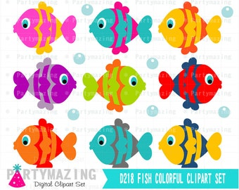 Fish Clipart Set, Clip Art Graphic, Instant Download -D218