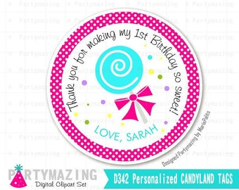 Personalized Candyland Tags, Printable lollipop Thank You Labels, Toppers, Stickers Labels, Party Favor Tag, Printable stickers -D342 HBCL1