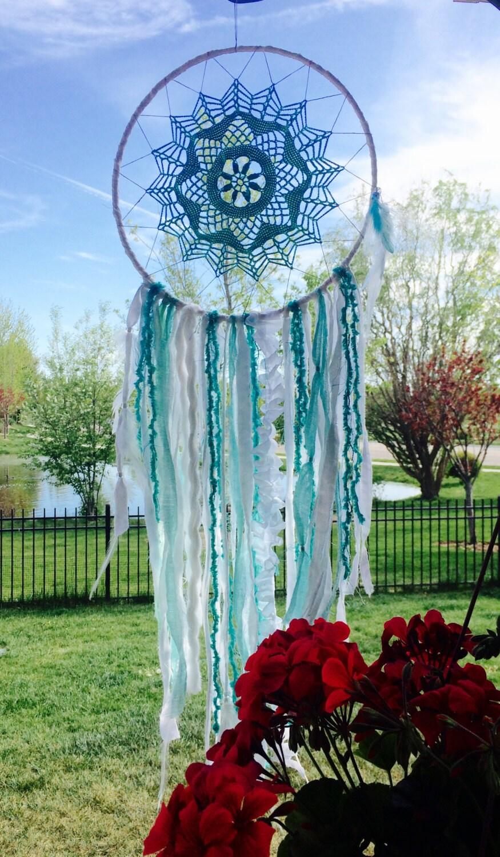 Large Dream Catcher Blue And White Dreamcatcher Hippie