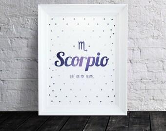 Inspirational Scorpio Zodiac Wall Art Print - 8.5 x 11