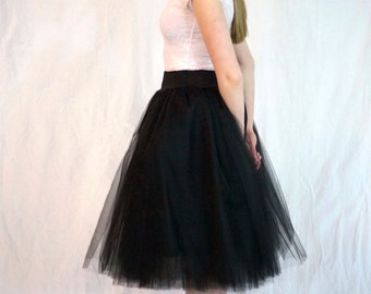 Black Tulle Skirt - Adult Tea Length- Stretch Drop Waist -Tutu or Petticoat- Midi Skirt, Ideal with Corsets or Bustier- Custom Made to Order