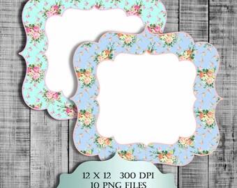 Shabby Chic Printable Labels Digital Clipart - Vintage floral  pattern journaling labels frames transparent background png clipar