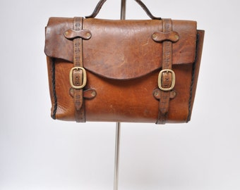 vintage leather bag satchel laptop case briefcase messenger tote hippie hand made 1960s