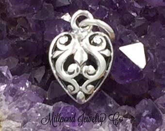 Heart Charm, Filigree Heart Charm, Sterling Silver Heart Charm, Hollow Filigree Heart Charm, Sterling Silver Charm, Silver Pendant