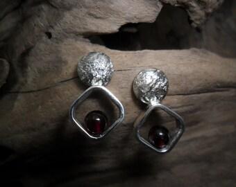 Sterling silver earrings with Garnet