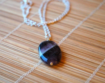 Stunning Oval Amethyst Pendant Sterling Silver Necklace - February Birthstone