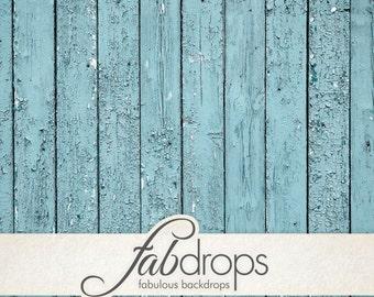 Weathered Floor WOOD Backdrop, Cloth Backdrop / Photo Prop Floor / Rustic Blue Wood Floor Backdrop (FD0587)