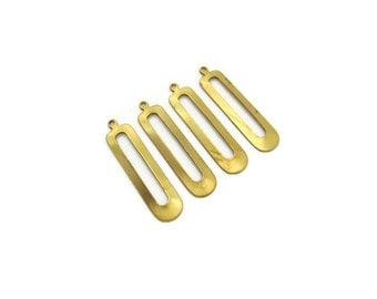 Raw Brass Pendants, 4pcs