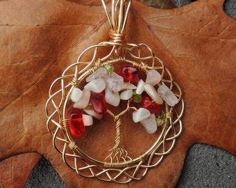 Pink Peruvian Rose Quartz Mother of Pearl Peridot Celtic Braid Tree of Life Pendant