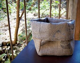 Coffee Bean Burlap Sack Bag Tote Basket Bin With Dusty Pink/Purple Printed Fabric Lining/Home Decor, Kitchen, Bathroom, Vanity Birthday Gift