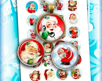 Retro Santa Claus Printable circle Images for Scrapbooking Bottle caps, Pendants Digital Collage Sheet Instant Download