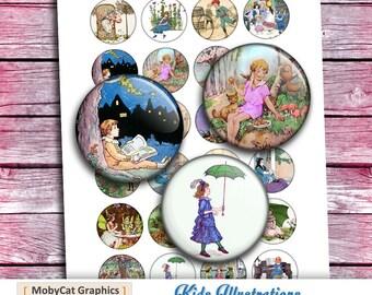 "Fairytale Illustrations Circle images 20mm 1"" 30mm 1.5"" for Magnets Bottle caps Cabochons Bezel Digital Collage Sheet - Instant Download"