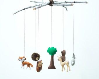 Woodland Creatures Mobile with Deer, Owl, Fox, Bear, Hedgehog and Rabbit