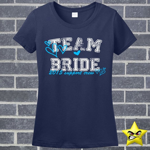 Team bride marriage engagement wedding bachelorette by for I support two teams t shirt