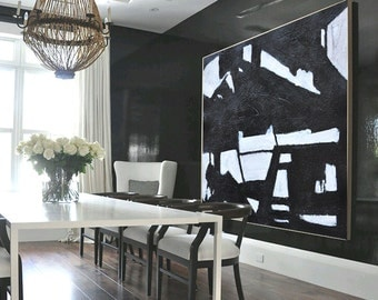 Large Painting Minimalist Art, Hand Painted Contemporary Art Abstract Painting, Geometric Art. Black And White.