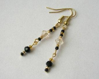 SALE!  Striking Black and Gold Earrings