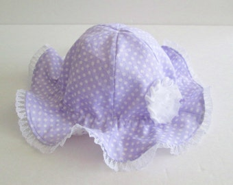Reversible Baby Sun Hat with Flower, Baby Girl Hat, Baby Easter Hat, Polka Dots, Lavender Hat, cotton, 3-24 months, Made to Order