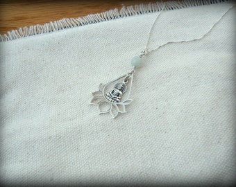 Buddha Lotus necklace, Yoga necklace, Lotus Buddha necklace,