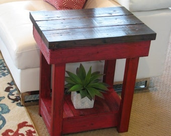SALE Red End Table with Shelf