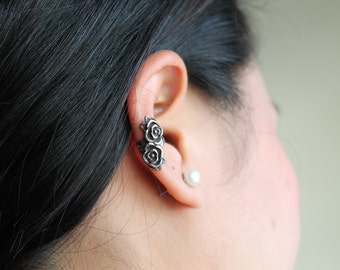 Roses Ear Cuff, Stainless Steel 316L, Hypoallergenic.