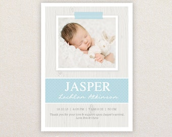 Boys Photo Birth Announcement. I Customize, You Print.