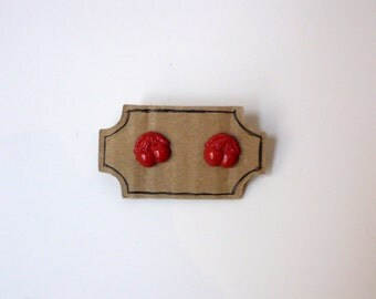 Handmade Button Statement Earrings Red