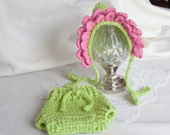 RTS   Diaper Cover Hat set  Newborn Photo Props Crocheted Flower Hat