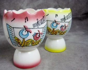 Double EGG CUP Pair - Singing Birds - Large - Kitchenware Japan