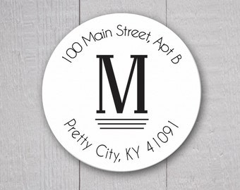 Monogram Return Address Labels, Round Address Stickers, Envelope Seals  (#203)