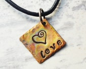 Love charm necklace - Flame painted copper jewelry - hand stamped heart charm - leather cord necklace