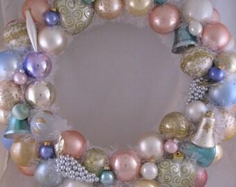 Pastel Vintage Ornament Wreath