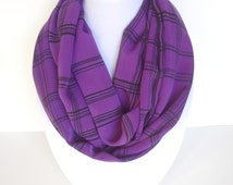 Purple Infinity Scarf, Cozy Scarf, Winter Scarf, Fall Scarf, Black and Purple Scarf, Ladies Scarves, Gift For Girlfirend